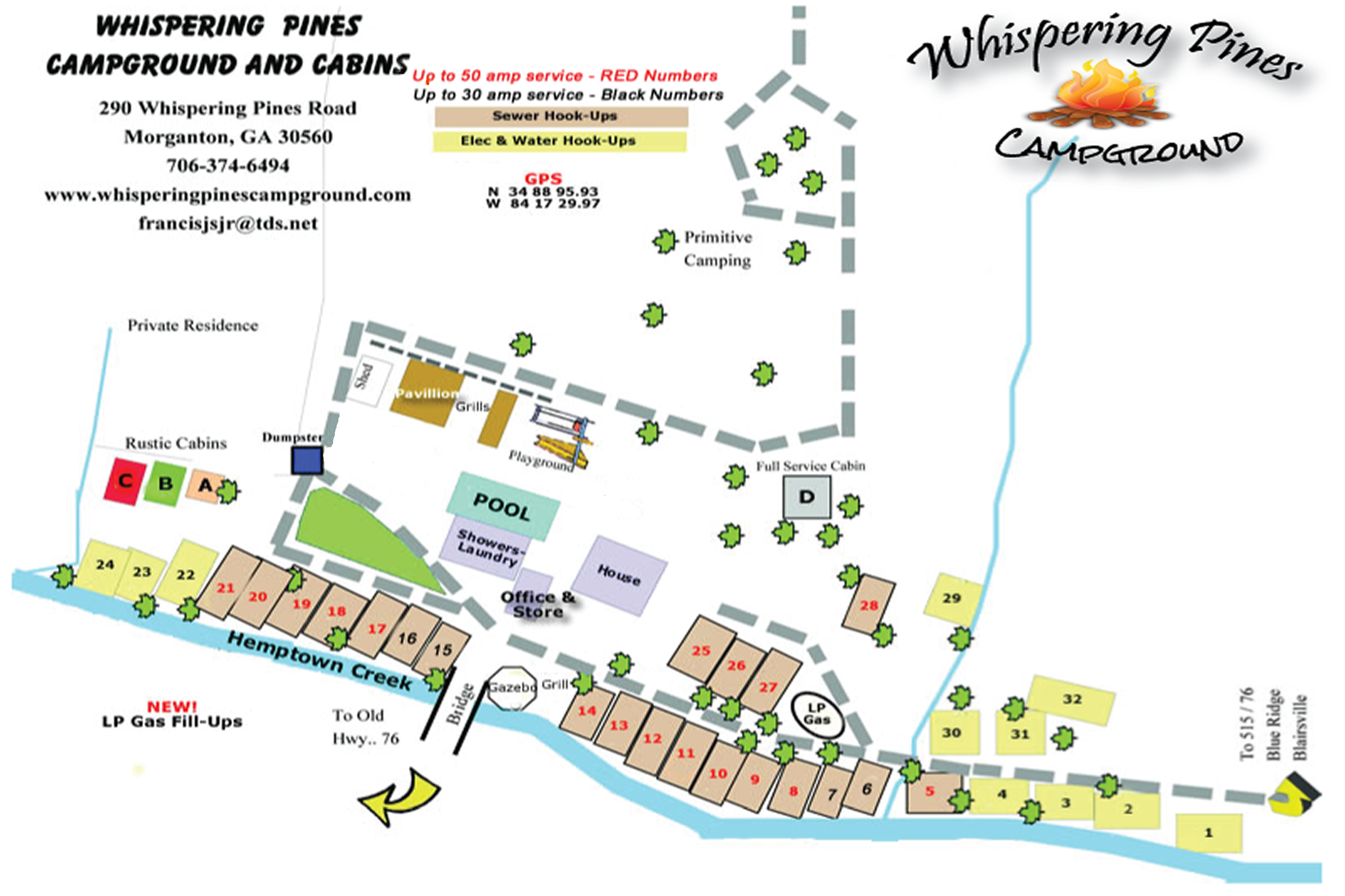North Georgia Camping - Whispering Pines Campground - Site Map on